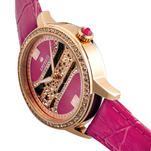 Empress Rania Mechanical Semi-Skeleton Leather-Band Watch - Pink - EMPEM2806