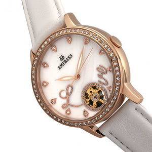 Empress Quinn Automatic MOP Semi-Skeleton Dial Leather-Band Watch - White - EMPEM2706