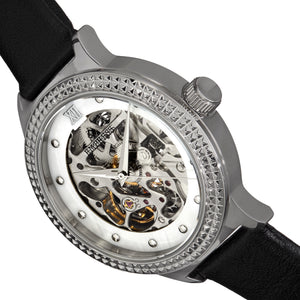 Empress Alice Automatic MOP Skeleton Dial Leather-Band Watch - Black - EMPEM3201