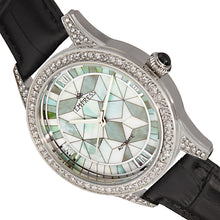 Load image into Gallery viewer, Empress Augusta Automatic Mosaic Mother-of-Pearl Leather-Band Watch - Silver/Black - EMPEM3501