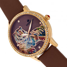 Load image into Gallery viewer, Empress Diana Automatic Engraved MOP Leather-Band Watch - Brown - EMPEM3005