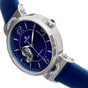 Empress Alouette Automatic Semi-Skeleton Leather-Band Watch - Blue - EMPEM3402