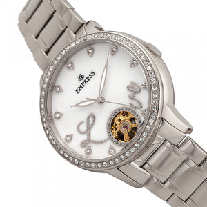 Empress Quinn Automatic MOP Semi-Skeleton Dial Bracelet Watch - Silver - EMPEM2701