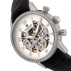 Empress Beatrice Automatic Skeleton Dial Leather-Band Watch w/Day/Date - Silver - EMPEM2001