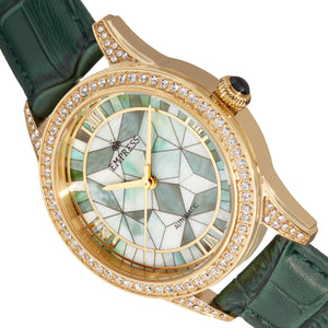 Empress Augusta Automatic Mosaic Mother-of-Pearl Leather-Band Watch - Gold/Green - EMPEM3503