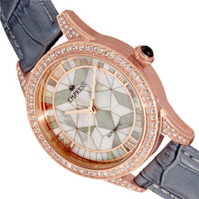 Load image into Gallery viewer, Empress Augusta Automatic Mosaic Mother-of-Pearl Leather-Band Watch - Rose Gold/Grey - EMPEM3504