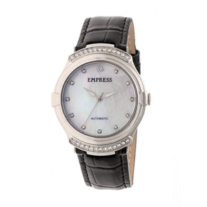 Empress Francesca Automatic MOP Leather-Band Watch - Black - EMPEM2201
