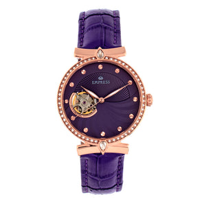 Empress Edith Semi-Skeleton Leather-Band Watch