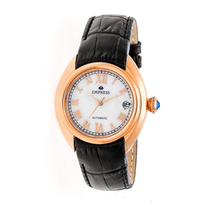 Empress Antoinette Automatic MOP Leather-Band Watch - Rose Gold/White - EMPEM1405