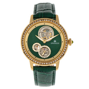 Empress Tatiana Automatic Semi-Skeleton Leather-Band Watch