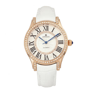 Empress Xenia Automatic Leather-Band Watch - White - EMPEM2604