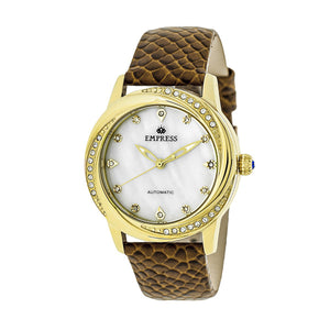 Empress Ayala Automatic MOP Leather-Band Watch - Rose Gold/White - EMPEM1005