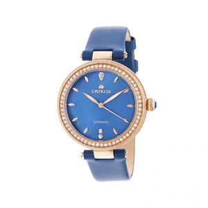Empress Louise Automatic MOP Leather-Band Watch - Blue - EMPEM2305