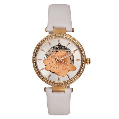 Empress Anne Automatic Semi-Skeleton Leather-Band Watch - EMPEM3104
