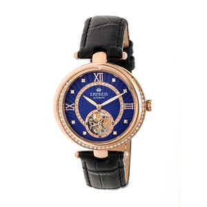 Empress Stella Automatic Semi-Skeleton MOP Leather-Band Watch - Black/Blue - EMPEM2106