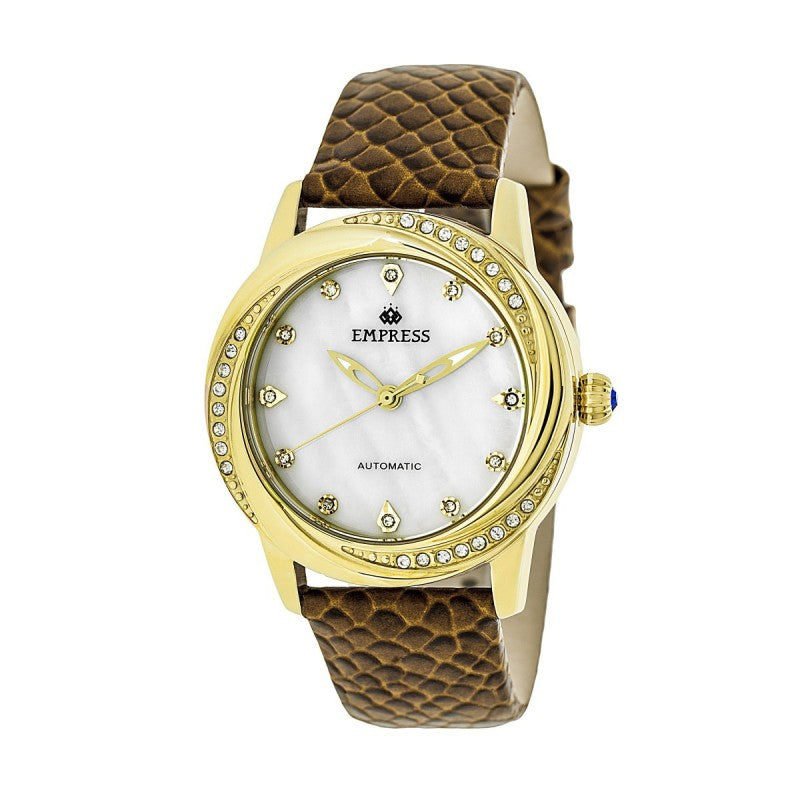 Empress Ayala Automatic MOP Leather-Band Watch