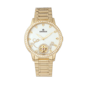 Empress Quinn Automatic MOP Semi-Skeleton Dial Bracelet Watch