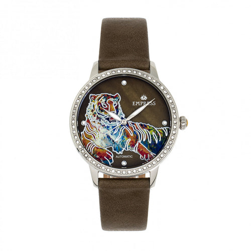 Empress Diana Automatic Engraved MOP Leather-Band Watch - EMPEM3001