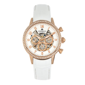 Empress Beatrice Automatic Skeleton Dial Leather-Band Watch w/Day/Date - Rose Gold/White - EMPEM2005