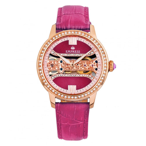 Empress Rania Mechanical Semi-Skeleton Leather-Band Watch - EMPEM2806