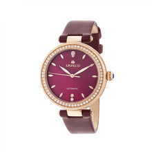 Load image into Gallery viewer, Empress Louise Automatic MOP Leather-Band Watch - Rose Gold/Burgandy - EMPEM2304