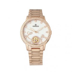 Empress Quinn Automatic MOP Semi-Skeleton Dial Bracelet Watch - Rose Gold - EMPEM2703