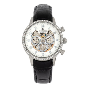 Empress Beatrice Automatic Skeleton Dial Leather-Band Watch w/Day/Date