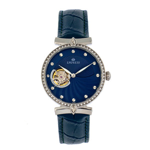 Empress Edith Semi-Skeleton Leather-Band Watch - Blue - EMPEM3303
