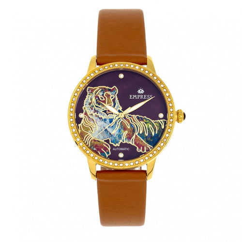 Empress Diana Automatic Engraved MOP Leather-Band Watch - EMPEM3004