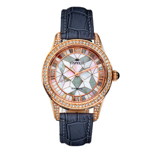 Empress Augusta Automatic Mosaic Mother-of-Pearl Leather-Band Watch - Rose Gold/Grey - EMPEM3504