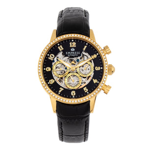 Empress Beatrice Automatic Skeleton Dial Leather-Band Watch w/Day/Date - Gold/Black - EMPEM2004
