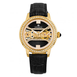 Empress Rania Mechanical Semi-Skeleton Leather-Band Watch