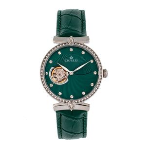 Empress Edith Semi-Skeleton Leather-Band Watch - Green - EMPEM3302