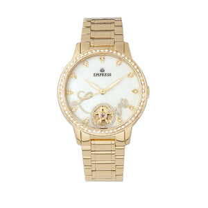 Empress Quinn Automatic MOP Semi-Skeleton Dial Bracelet Watch - Gold - EMPEM2702