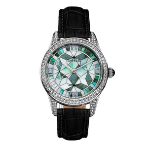 Empress Augusta Automatic Mosaic Mother-of-Pearl Leather-Band Watch - Silver/Black - EMPEM3501
