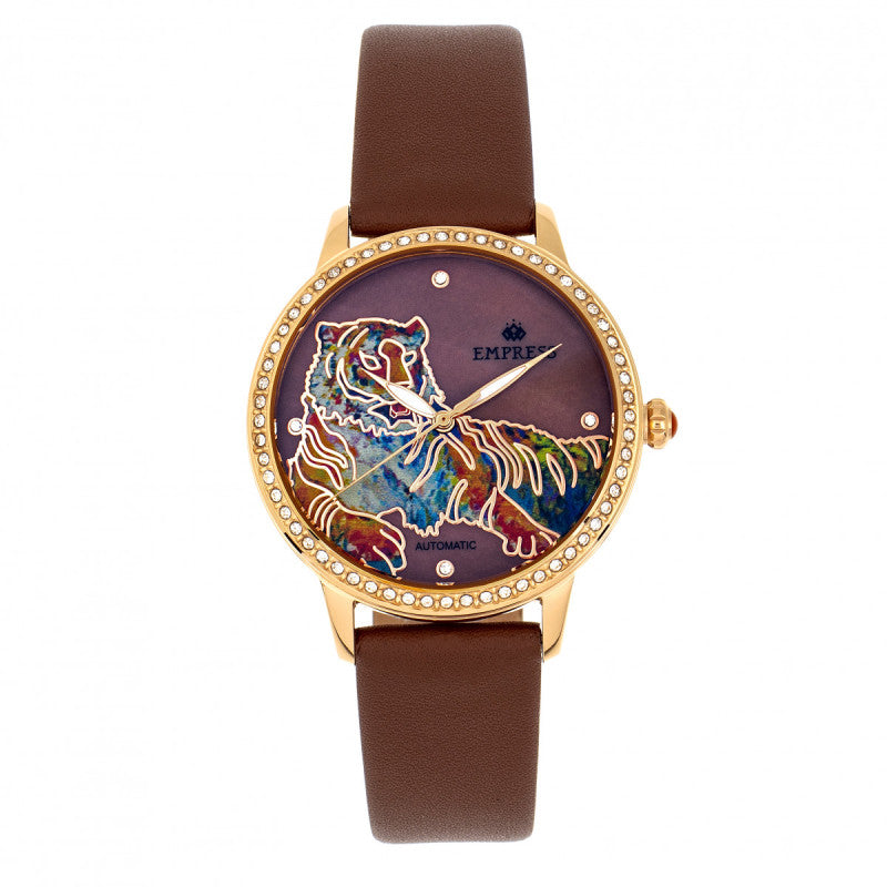 Empress Diana Automatic Engraved MOP Leather-Band Watch