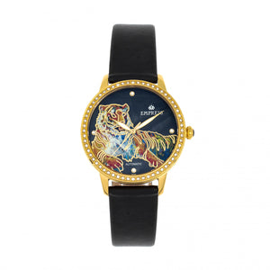 Empress Diana Automatic Engraved MOP Leather-Band Watch - Black - EMPEM3003