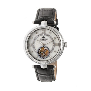 Empress Stella Automatic Semi-Skeleton MOP Leather-Band Watch