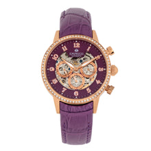 Load image into Gallery viewer, Empress Beatrice Automatic Skeleton Dial Leather-Band Watch w/Day/Date - Rose Gold/Purple - EMPEM2006