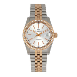 Empress Constance Automatic Bracelet Watch w/Date - Rose Gold/White - EMPEM1507