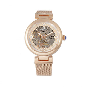 Empress Adelaide Automatic Skeleton Mesh-Bracelet Watch - Rose Gold - EMPEM2503