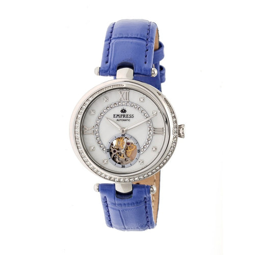 Empress Stella Automatic Semi-Skeleton MOP Leather-Band Watch - EMPEM2103