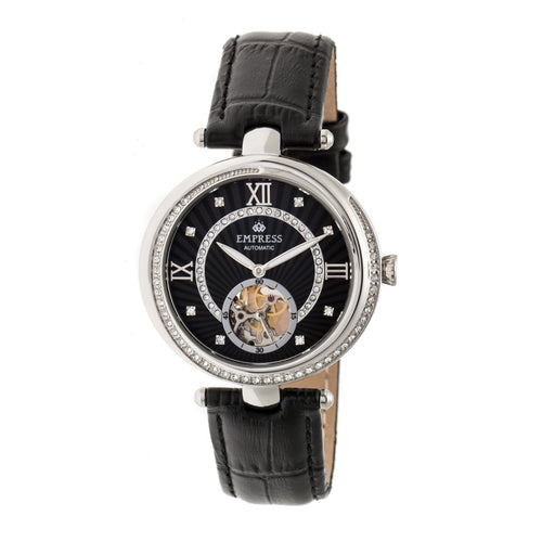 Empress Stella Automatic Semi-Skeleton MOP Leather-Band Watch - EMPEM2102