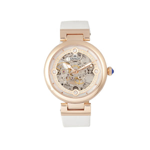 Empress Adelaide Automatic Skeleton Leather-Band Watch - White - EMPEM2507