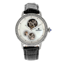 Load image into Gallery viewer, Empress Tatiana Automatic Semi-Skeleton Leather-Band Watch - Black - EMPEM2901