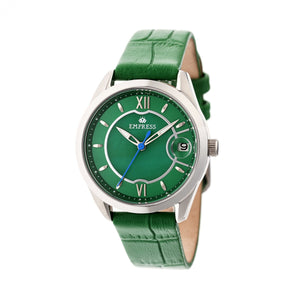 Empress Messalina Automatic MOP Leather-Band Watch w/Date - Green - EMPEM2402