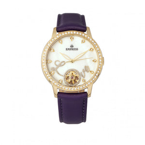 Empress Quinn Automatic MOP Semi-Skeleton Dial Leather-Band Watch - Purple - EMPEM2705