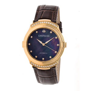 Empress Francesca Automatic MOP Leather-Band Watch - Dark Brown - EMPEM2203