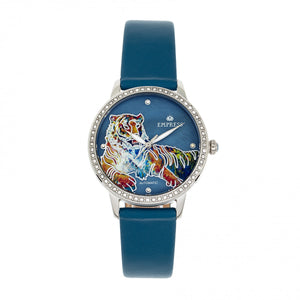 Empress Diana Automatic Engraved MOP Leather-Band Watch - Blue - EMPEM3002