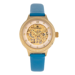 Empress Alice Automatic MOP Skeleton Dial Leather-Band Watch - Blue - EMPEM3204